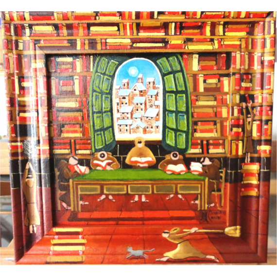 In the library, with painted frame