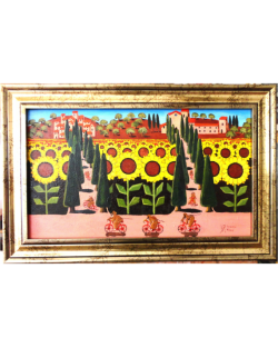 Original: Bicycles among the sunflowers, Oil on Board