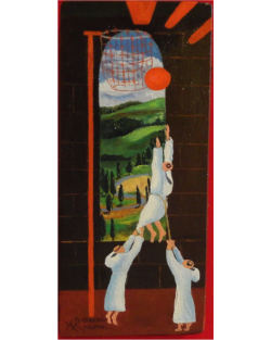 Original: The basketball game, Oil on Board