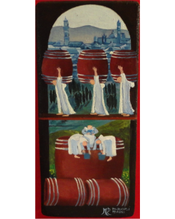 Original: The barrels with the countryside, Oil on Board