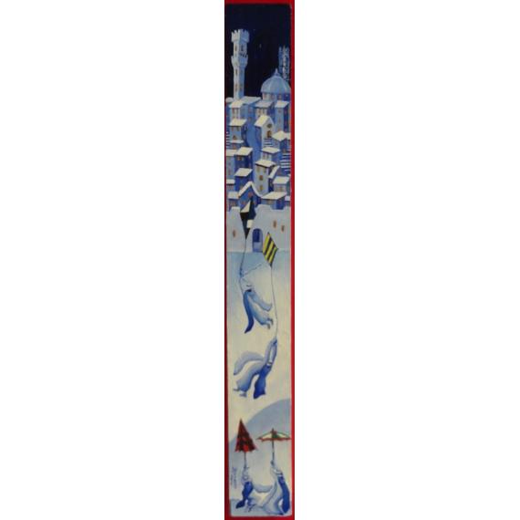 Siena, sotto la neve con gli aquiloni, dipinto anche lateralmente