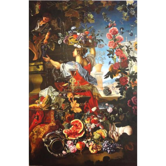 Copia d'Arte Grande natura morta di fiori e frutta in un paesaggio con figure