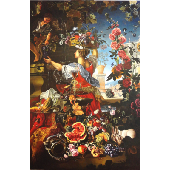 Large still life of flowers and fruit in a landscape with figures