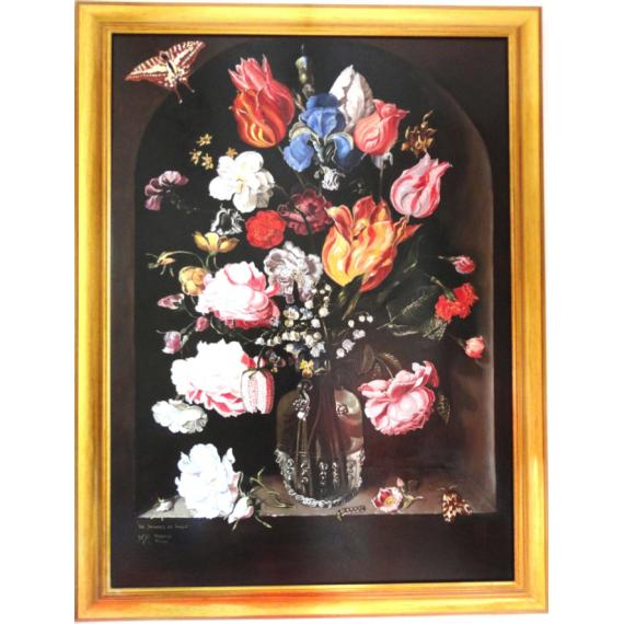 Copia d'arte Fiori in un vaso di vetro