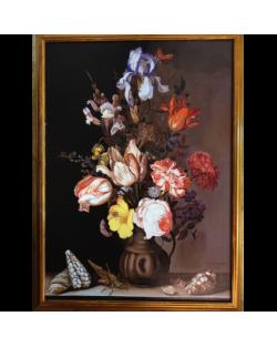 Copia d'Arte Vaso di fiori con insetti e conchiglie