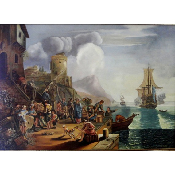 Seaport in an oil painting by the italian artist Luca Carlevarijs