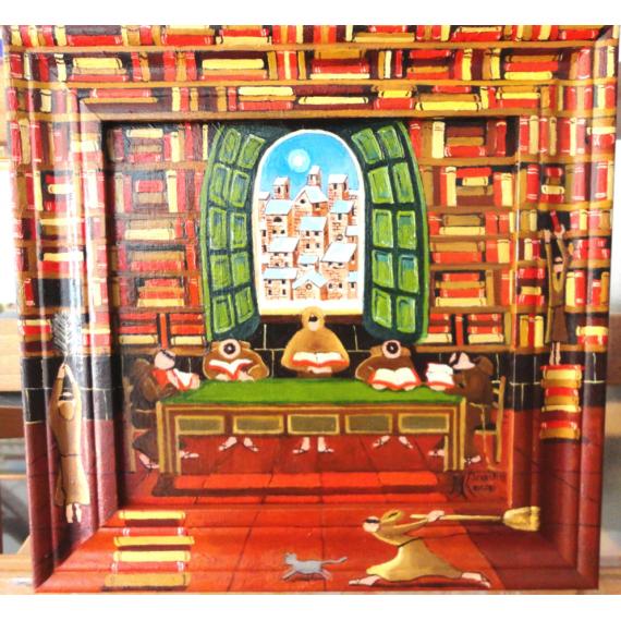 Frati in biblioteca con cornice dipinta