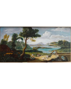 Fantasy view with watercourse, shepherds, sheep and bridge