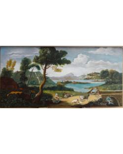 Veduta di fantasia con corso d'acqua, pastori, gregge e ponticello